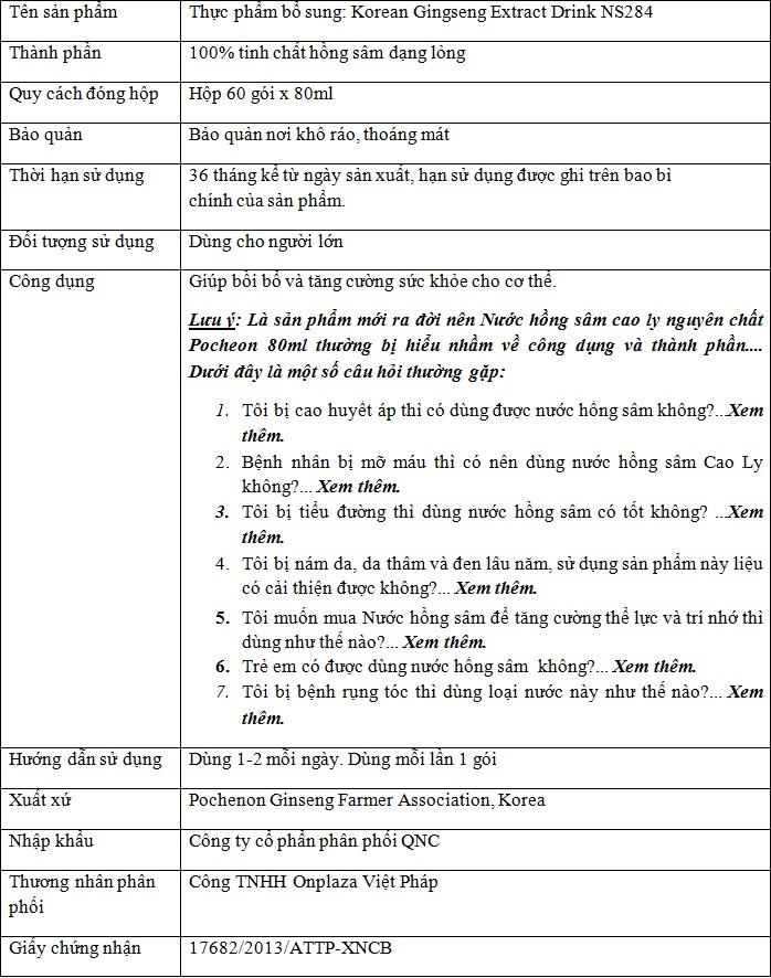 ttsp tinh chat hong sam cao ly pocheon NS284 Tinh chất hồng sâm Cao Ly Pocheon NS284
