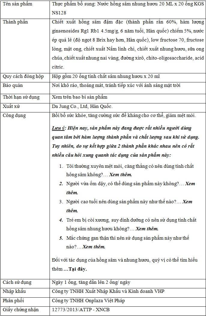 ttsp tinh chat hong sam nhung huou kgs NS128 Tinh chất hồng sâm nhung hươu KGS NS128