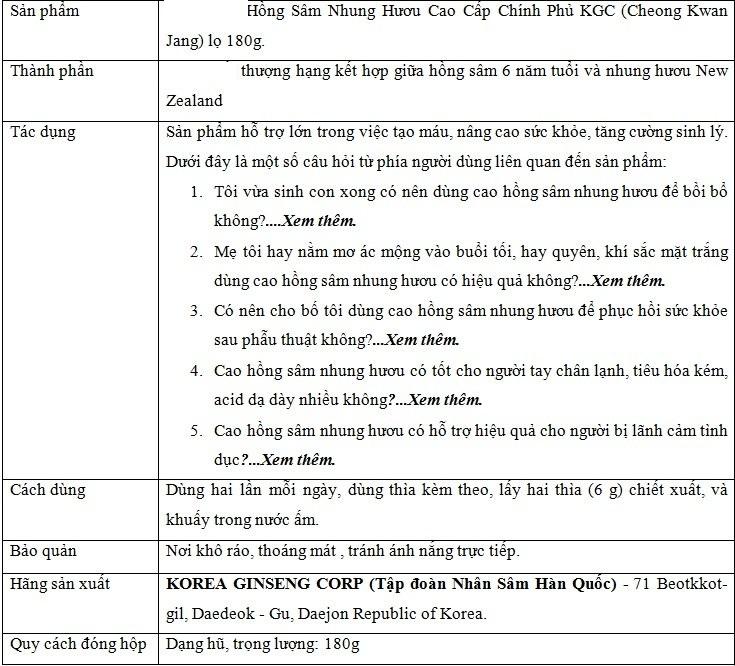 ttsp tinh chat hong sam nhung huou cao cap chinh phu kgc lo 180 g Tinh Chất Hồng Sâm Nhung Hưu Cao Cấp Chính Phủ KGC (Cheong Kwan Jang ) lọ 180g